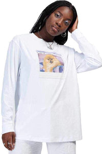 SPILL THE TEA T-shirt Long sleeve peanut is calling White - Circle Collective