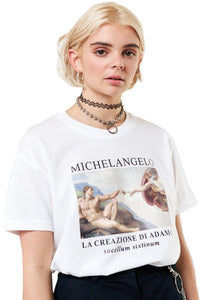 MINGA T-Shirt Michelangelo Oversized White - Circle Collective