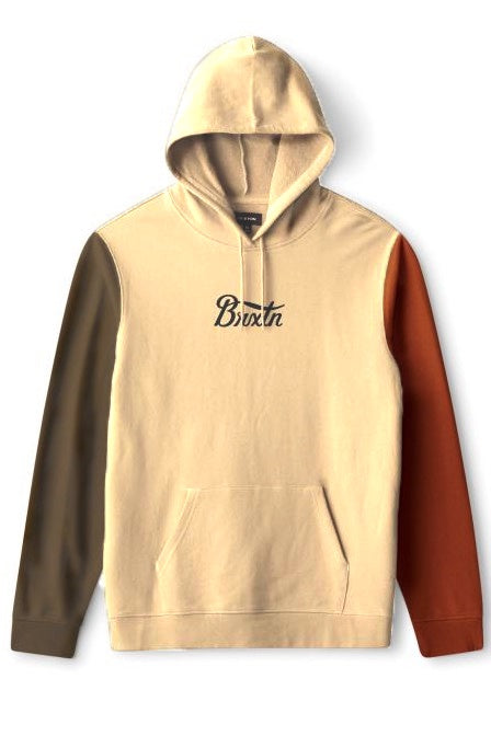 BRIXTON Hoodie Stith Fleece Gravel/Dark Khaki - Circle Collective