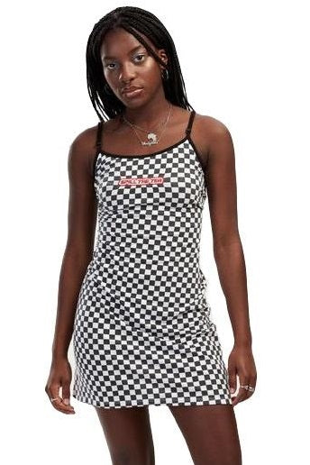 SPILL THE TEA Checkered Mini Dress - Circle Collective