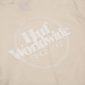 HUF T-Shirt Issues Logo Puff Unbleached - Circle Collective
