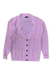 CCW Cardigan Cable Knit Boyfriend Pink - Circle Collective