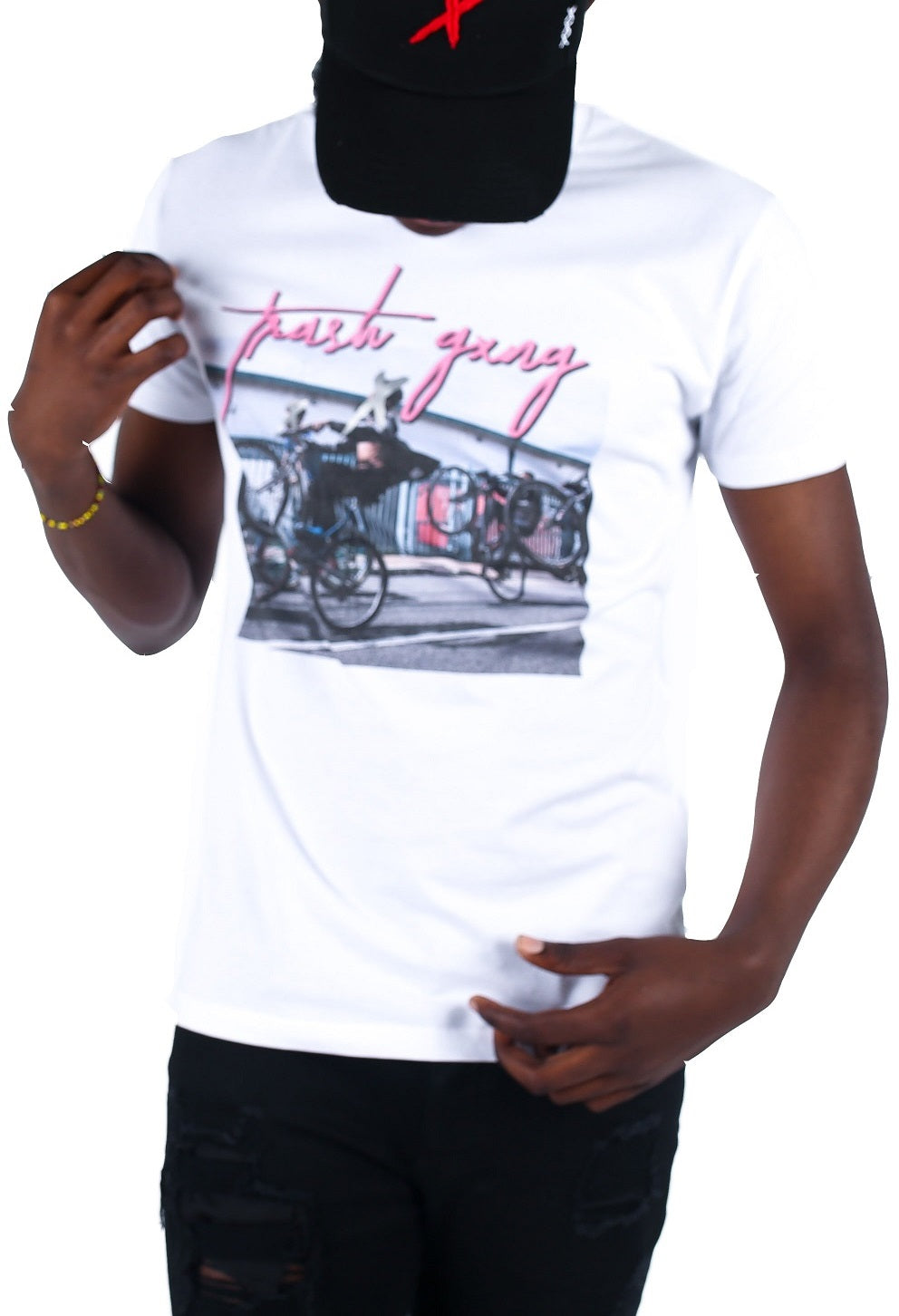 TRASH GXNG T-Shirt London Vice White/Pink - Circle Collective