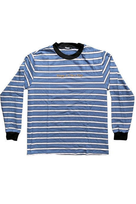 HANDY SUPPLY CO Long Sleeve Tee Striped Heavyweight Chalk Blue - Circle Collective