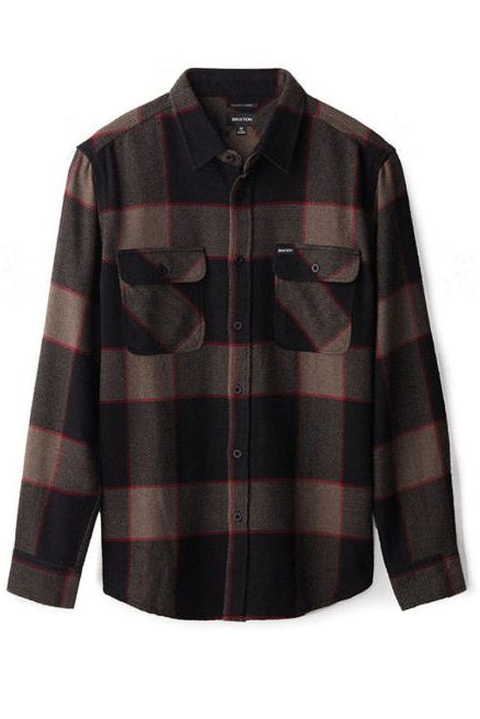 BRIXTON Shirt Bowery L/S Flannel Heather Grey/Charcoal - Circle Collective