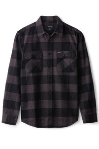 BRIXTON Shirt Bowery L/S Flannel Black/Steel - Circle Collective