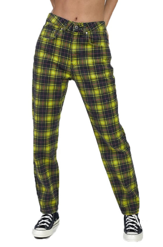 THE RAGGED PRIEST Jeans Caddie Black/Lime Printed Check - Circle Collective