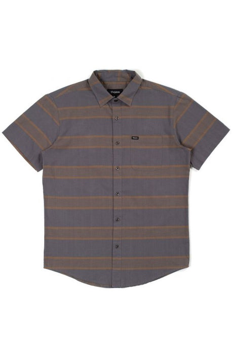 BRIXTON Short Sleeve Shirt Charter Woven Charcoal - Circle Collective