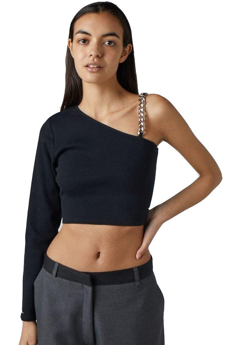 THE RAGGED PRIEST Crop One Shoulder Top Relate Black - Circle Collective
