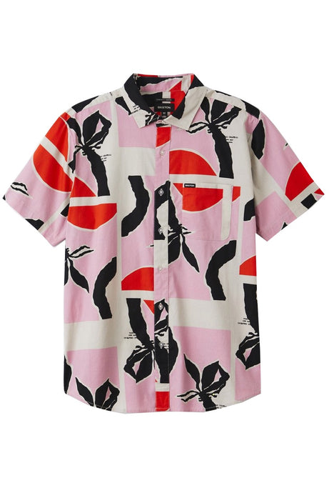 BRIXTON Short Sleeve Shirt Charter Print Pink/Red - Circle Collective