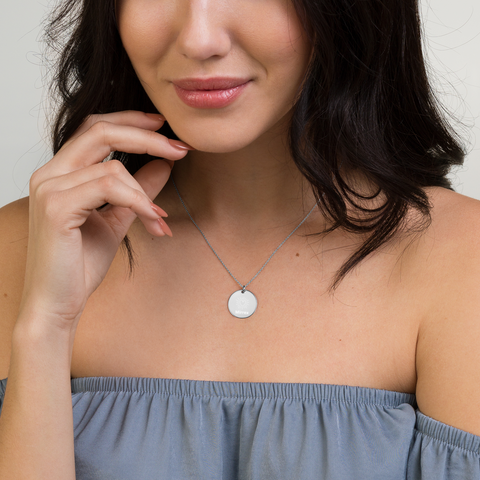 Mirrex Engraved Silver Disc Necklace Gift for your loved ones - Mirrex™