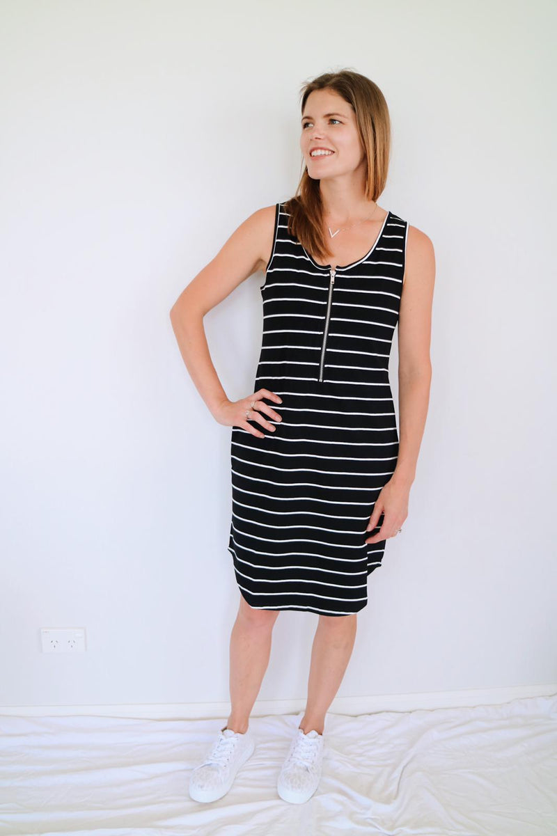 Zip Dress - Black Stripe