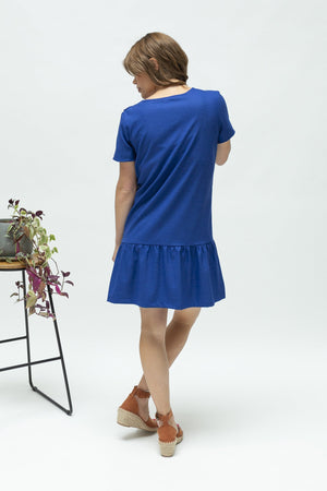 Breastfeeding dress nz-ruffledress-blue-back