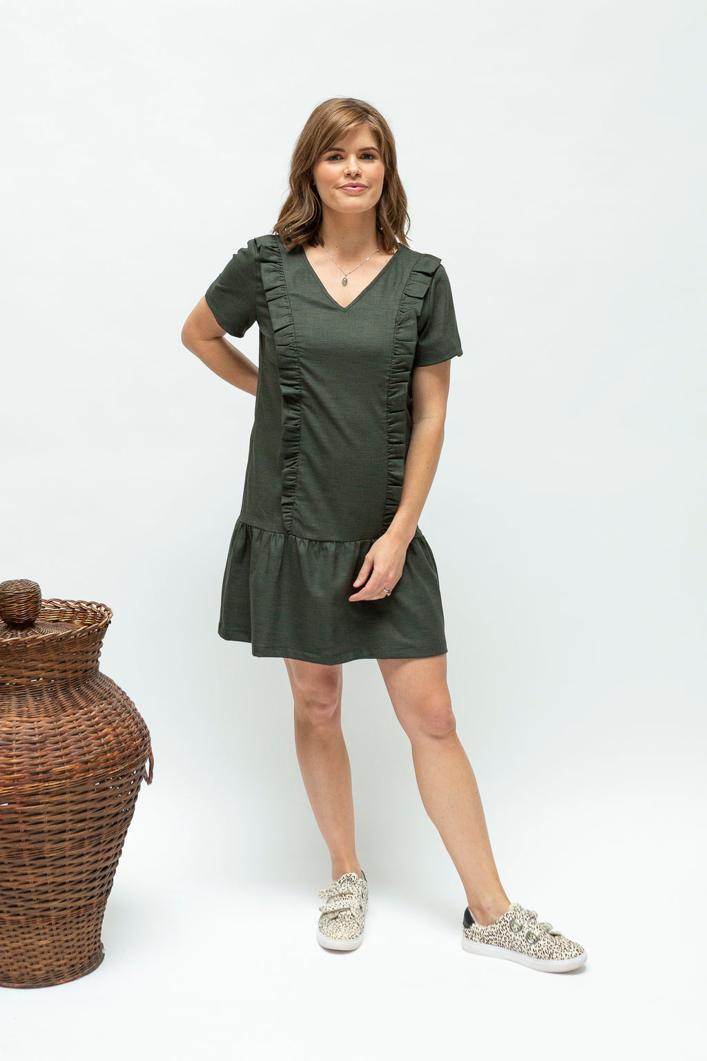 Breastfeeding dress nz-ruffledress-sage-front