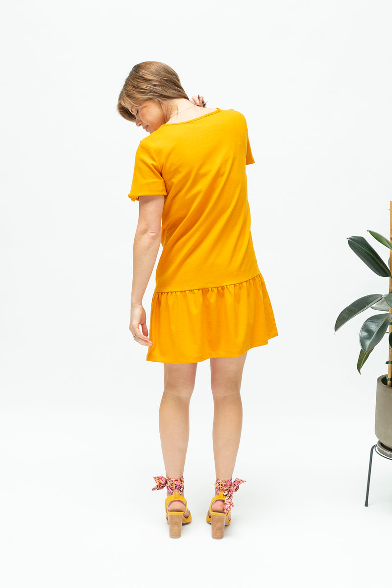 Ruffle breastfeeding dress NZ in marigold-back