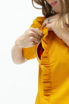 Ruffle breastfeeding dress NZ in marigold--open