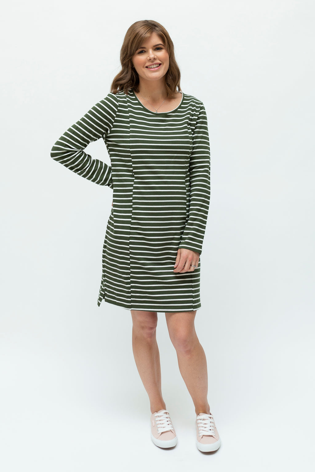 olive & white breastfeeding dress nz - front