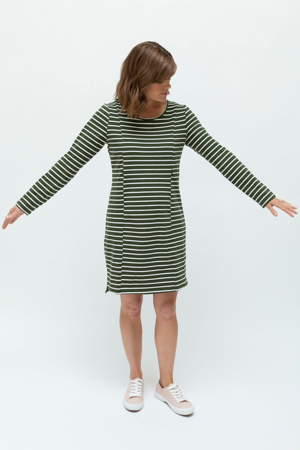 Stripe Dress - Olive & White