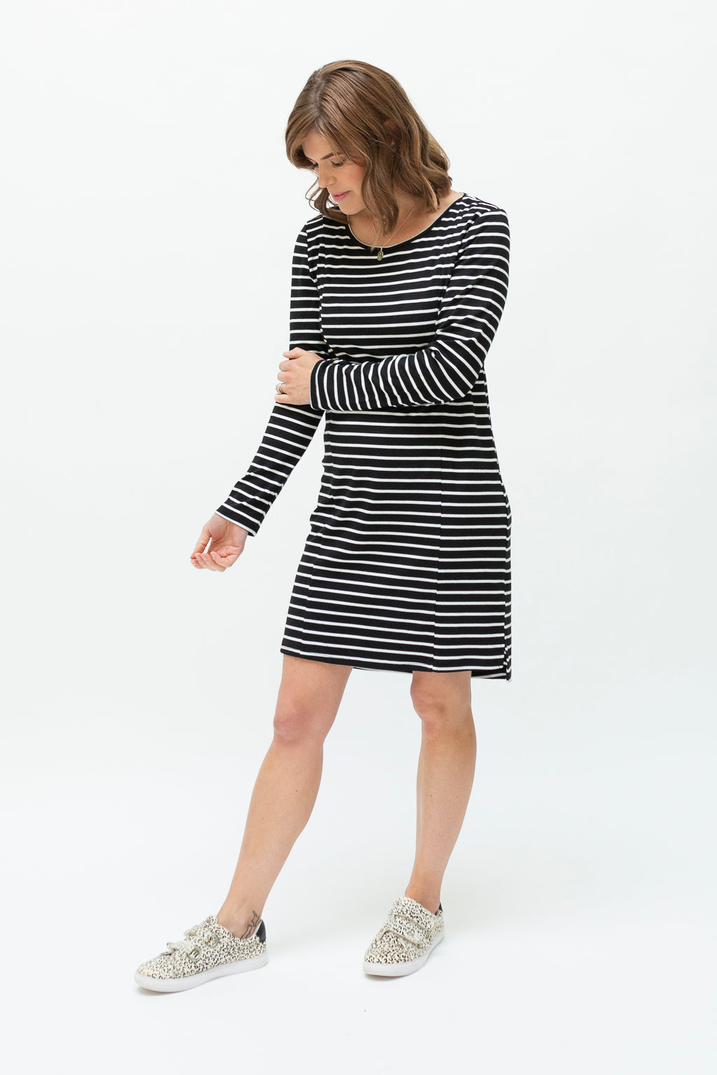 B&W stripe dress-breastfeeding dress NZ-profile