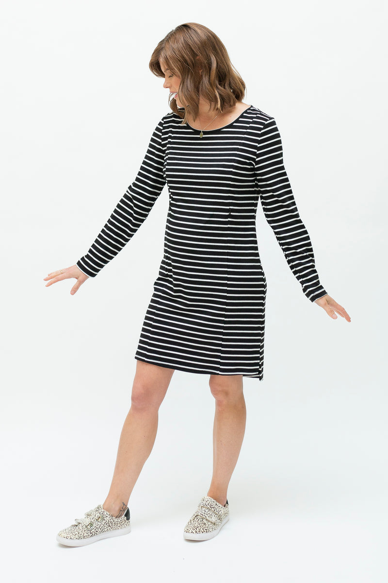 B&W stripe dress-breastfeeding dress NZ-front