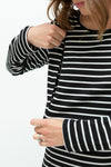 B&W stripe dress-breastfeeding dress NZ-closeup