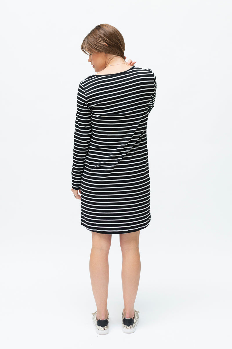 B&W stripe dress-breastfeeding dress NZ-back