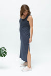 Navy stripe-summer-breastfeeding-dress-nz-side