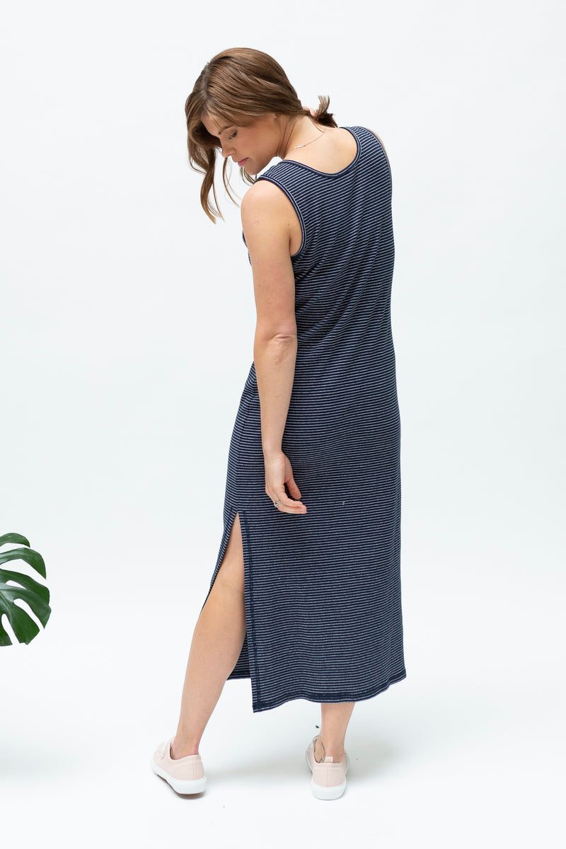 Navy stripe-summer-breastfeeding-dress-nz-back