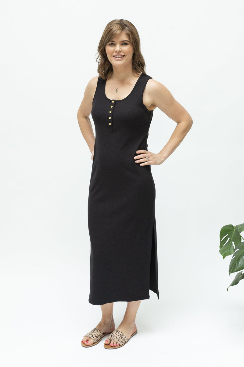 Black midi rib dress-summer-breastfeeding-dress-nz-front