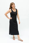 Black midi rib dress-summer-breastfeeding-dress-nz-sideprofile
