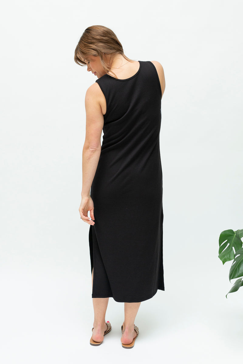 Black midi rib dress-summer-breastfeeding-dress-nz-back