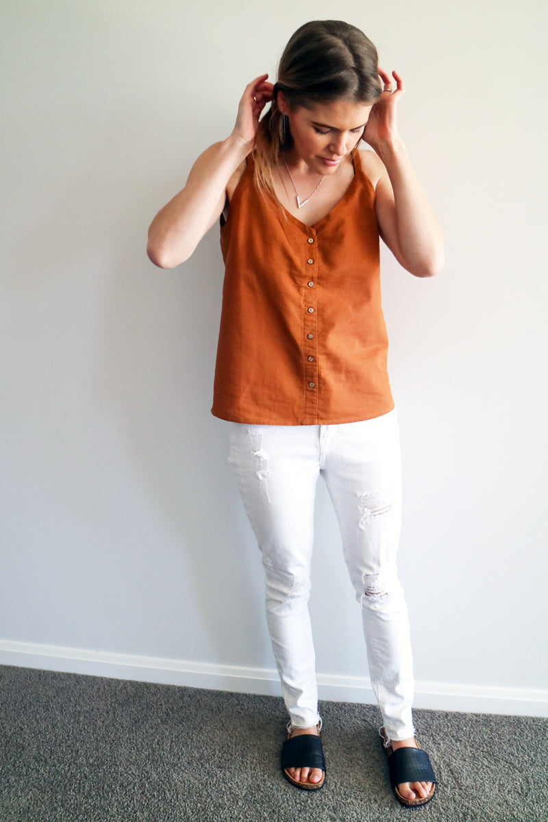 Button cami - Rust SIZE 6 & 14