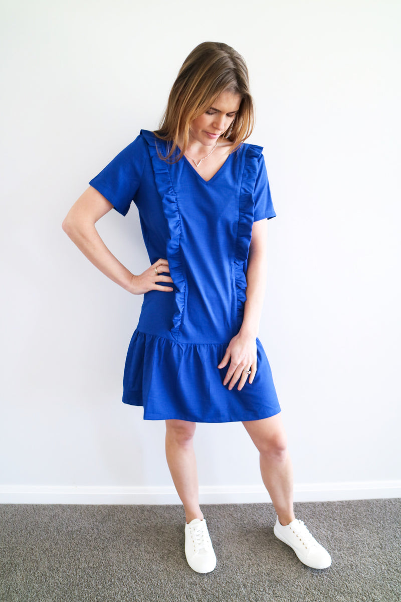 Ruffle Dress - Cobalt Blue