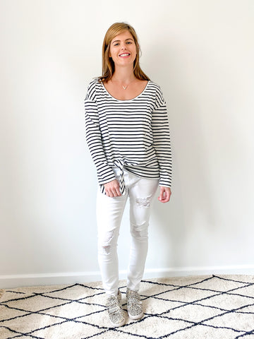 Tie Top in Navy & White Stripe