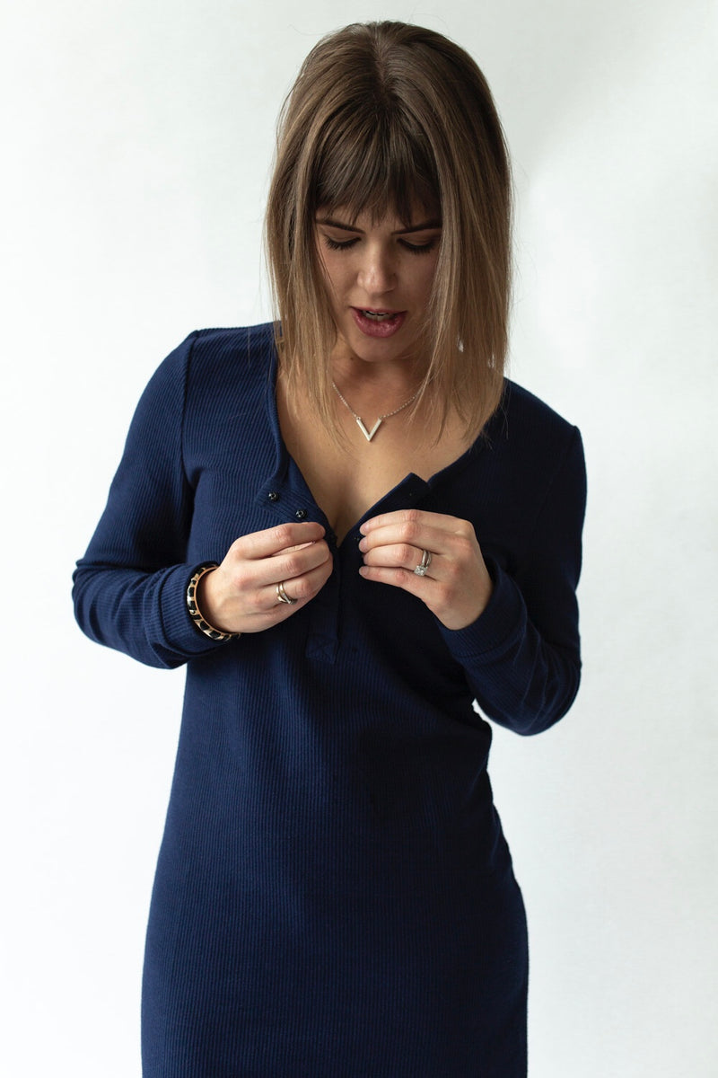 Long Sleeve Rib Dress in Navy - Close To The Heart
