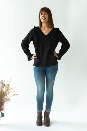 Ruffle Top in Black - breastfeeding top NZ - front