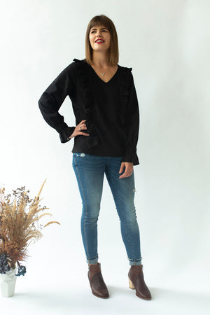 Ruffle Top in Black - breastfeeding top NZ - stylish