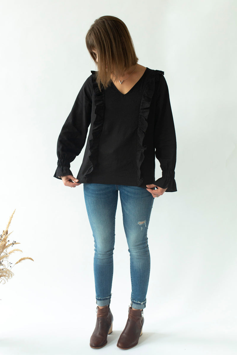 Ruffle Top in Black - breastfeeding top NZ - elegant