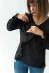 Ruffle Top in Black - breastfeeding top NZ - howto
