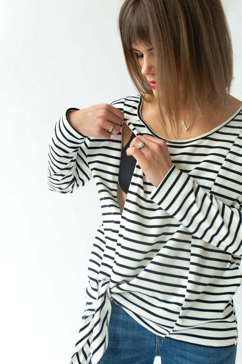 Long Sleeve Tie Top in Stripe - NON-BREASTFEEDING ONLY - Close To The Heart
