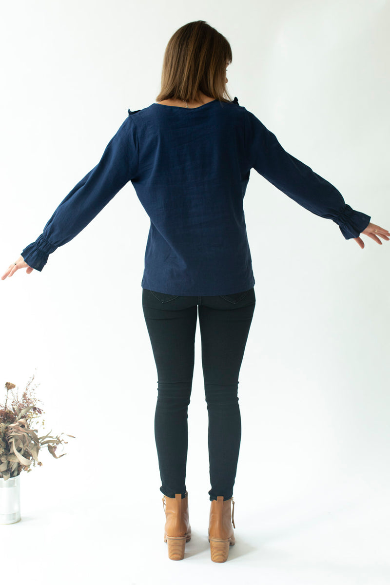 Ruffle Top in Ink Blue - Close To The Heart