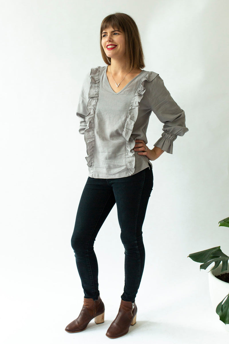 Ruffle Top in Ash Grey - Close To The Heart