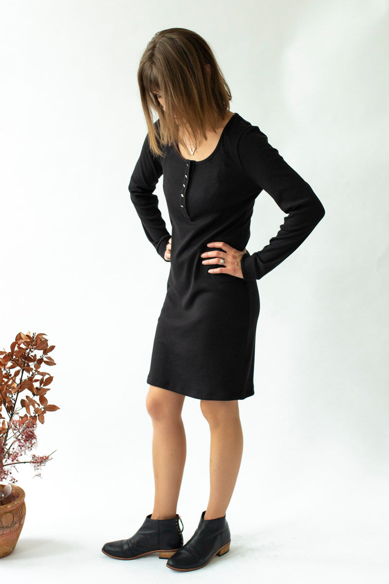 Long Sleeve Rib Dress in Black - Close To The Heart