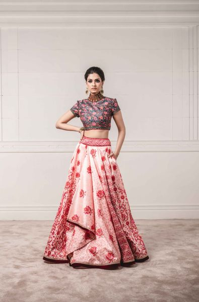 Asymmetric Printed Lehenga with Printed Top Embellished High Neck