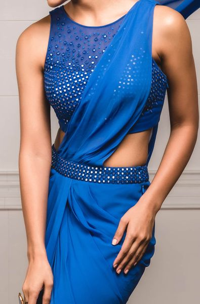 Concept Saree with Sleeveless Blouse