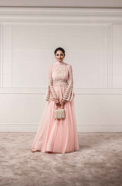 Embellished Peplum Top and Lehenga with Light Net Dupatta