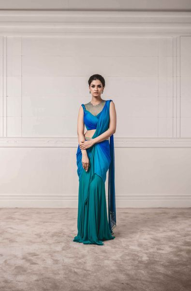 Draped Saree with Chiffon Fluted Blouse