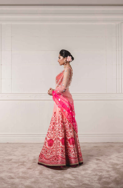 Printed Lehenga with Blouse and Shaded Dupatta