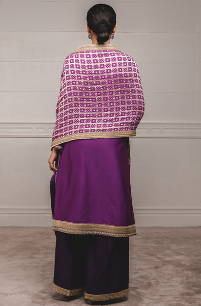 A Line Kurta with Stole And Trouser