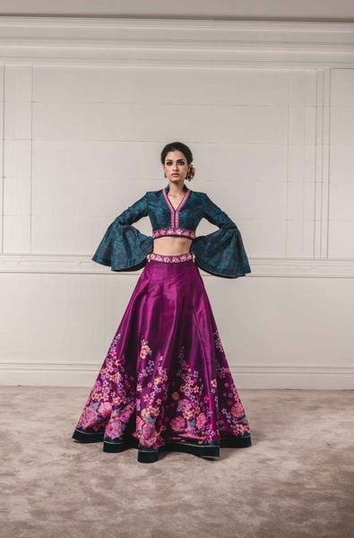 Floral Printed Lehenga Blouse with Flared Sleeves